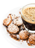 Cup of espresso and small biscotti on white Royalty Free Stock Images
