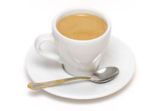 Cup of espresso with spoon Royalty Free Stock Photography