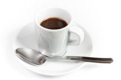 A cup of espresso with spoon Stock Photos