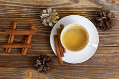 Cup of espresso, waffles and chocolate candy. Top view. Royalty Free Stock Images