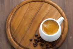 Cup of espresso on a wooden tray, top view Stock Images