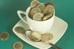 Cup of euro Stock Image