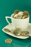 Cup of euro Stock Photo