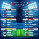 Cup EURO 2016 Final Schedule. Cup EURO 2016 final tournament schedule. Football European Championship Soccer final qualified countries. France Europe matches Stock Images
