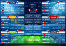 Cup EURO 2016 Finals Schedule. Cup EURO 2016 final tournament schedule. Football European Championship Soccer final qualified countries. France Europe matches Stock Illustration
