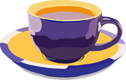 Cup expecting. Image dark blue cups with tea Stock Illustration