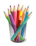 Cup farbige Bleistifte (JPG+EP Stockbilder
