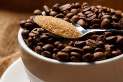 Cup filled with coffee beans and spoon with brown sugar Royalty Free Stock Photos
