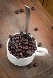 Cup filled with roasted coffee beans Stock Photos