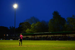 Cup Final Night. Football Match: Cuckfield Goalie waiting for action at the AFC Haywards Vs Cuckfield cup final night `Tester Challenge Cup` at Burgess Hill Royalty Free Stock Image