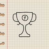 Cup for first place sketch icon. Element of education icon for mobile concept and web apps. Outline cup for first place sketch ico. N can be used for web and Stock Photos