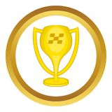 Cup for first place vector icon. In golden circle, cartoon style isolated on white background Stock Photography