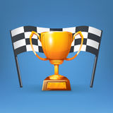 Cup and flag. Illustration of gold cup with flag on blue background Stock Images
