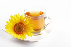 Cup of flower tea. Close up image of a cup of  tea with seasonal flower Stock Photo