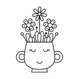 Cup with flowers. Coloring page. Vector illustration Stock Photo