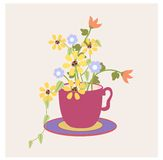 Cup of  Flowers Royalty Free Stock Photos