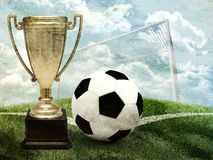 Cup with football and gates Stock Photos