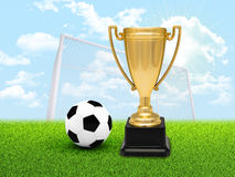 Cup with football on pitch Stock Photos