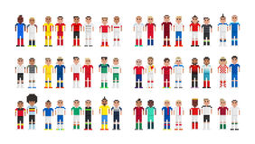 Cup 2016 Football players in pixels. Vector football players caricature of the European Cup 2016 Stock Photo