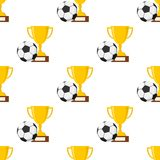 Cup and Football or Soccer Ball Seamless Stock Images