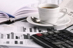 Cup of fragrant coffee on a morning paper business. News Royalty Free Stock Photography