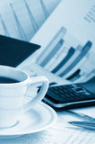 Cup of fragrant coffee on a morning paper business. News Royalty Free Stock Image