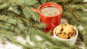 Cup of fragrant coffee. Recipe for ginger biscuits. NewYear.  royalty free stock photography