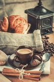Cup fragrant hot coffee with bean chocolate Stock Image