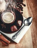 Cup fragrant hot coffee with bean chocolate Royalty Free Stock Image
