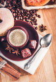 Cup fragrant hot coffee with bean chocolate Royalty Free Stock Photos