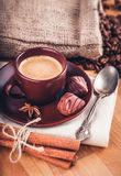 Cup fragrant hot coffee with bean chocolate Royalty Free Stock Photography