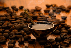 A cup of fragrant morning coffee Royalty Free Stock Photos
