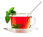 Cup of fragrant tea with fresh leaves of green tea Stock Photography