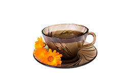 Cup of  fragrant tea on a white. Royalty Free Stock Image