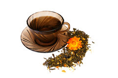 Cup of  fragrant tea on a white. Royalty Free Stock Photos