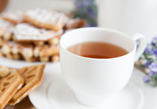 Cup of fragrant tea white porcelain Royalty Free Stock Photography