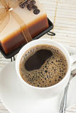 Cup of fresh brewed hot coffee Stock Images