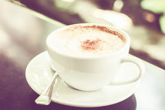 Cup of fresh cappuccino, Loving coffee Royalty Free Stock Photography