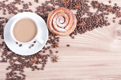 Cup of fresh coffee with milk Royalty Free Stock Photo