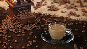 Cup of fresh coffee with milk or cream for breakfast stock footage