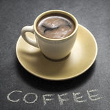Cup of fresh coffee on table Royalty Free Stock Image