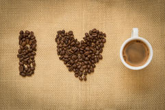 Cup of fresh espresso coffee  and beans Stock Photography