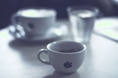 Cup of fresh espresso on table Royalty Free Stock Images