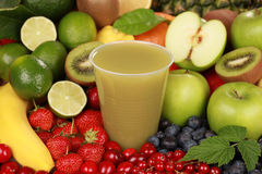 Juice made from green fruits Stock Image