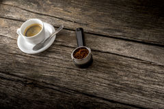 Cup of fresh hot Arabica black coffee and freshly ground coffee Stock Photo