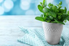 Cup with fresh lemon balm. On table royalty free stock photos