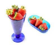 Cup with fresh strawberries Stock Photos