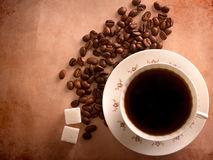 Cup of freshly brewed black coffee Stock Photos