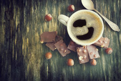 Cup of freshly brewed coffee Stock Images