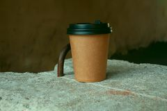 A cup of freshly brewed coffee stock photo